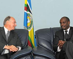 Dr Richard Sezibera meets His Highness the Agha Khan at the EAC Headquarters in Arusha. (Sunday Times Rwanda)