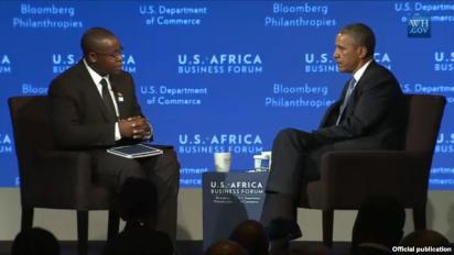 Former YALI Fellow Takunda Chingozo with PResident Obama