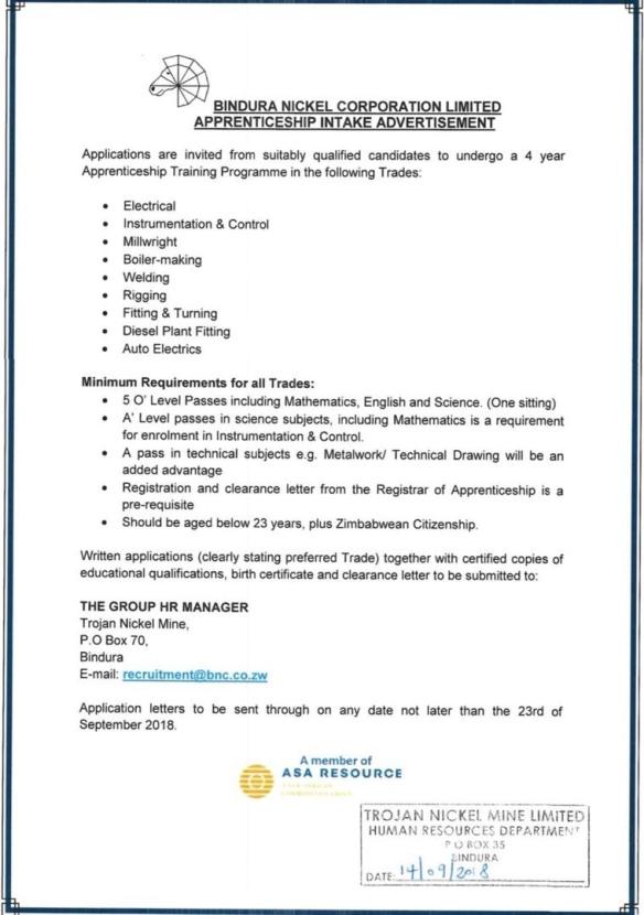 Zimbabwe Nickel Corporation Apprenticeship intake  | Zimdev